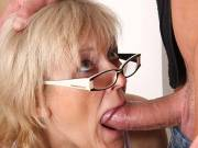 Porn loving granny gets young boner