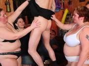 Hot body BBW rides dick on bar floor