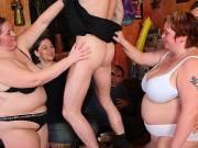 BBW orgy sex on the floor of the bar