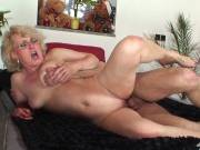 The lusty grandma in glasses fucks